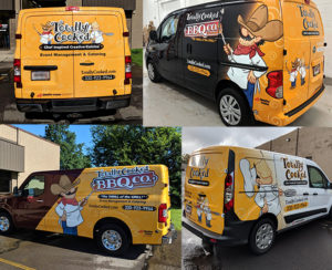 Totally Cooked van wrap display graphics
