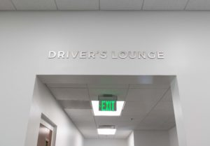 Custom office indoor signage with metal lettering