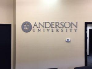 Anderson University Brushed Aluminum Logo On Wall